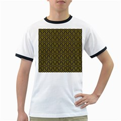 Hexagon1 Black Marble & Yellow Colored Pencil (r) Ringer T Shirts