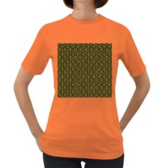 Hexagon1 Black Marble & Yellow Colored Pencil (r) Women s Dark T Shirt