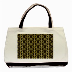 Hexagon1 Black Marble & Yellow Colored Pencil (r) Basic Tote Bag