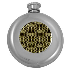 Hexagon1 Black Marble & Yellow Colored Pencil (r) Round Hip Flask (5 Oz)