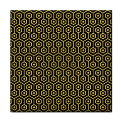 Hexagon1 Black Marble & Yellow Colored Pencil (r) Face Towel