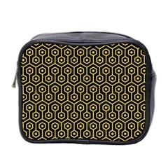 Hexagon1 Black Marble & Yellow Colored Pencil (r) Mini Toiletries Bag 2 Side