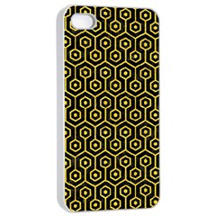 Hexagon1 Black Marble & Yellow Colored Pencil (r) Apple Iphone 4/4s Seamless Case (white)