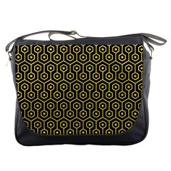 Hexagon1 Black Marble & Yellow Colored Pencil (r) Messenger Bags