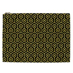 Hexagon1 Black Marble & Yellow Colored Pencil (r) Cosmetic Bag (xxl)