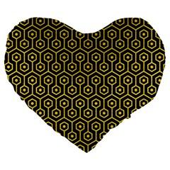 Hexagon1 Black Marble & Yellow Colored Pencil (r) Large 19  Premium Heart Shape Cushions