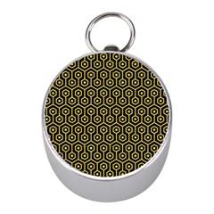 Hexagon1 Black Marble & Yellow Colored Pencil (r) Mini Silver Compasses