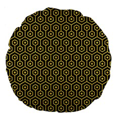 Hexagon1 Black Marble & Yellow Colored Pencil (r) Large 18  Premium Flano Round Cushions