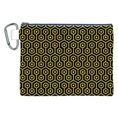 Hexagon1 Black Marble & Yellow Colored Pencil (r) Canvas Cosmetic Bag (xxl)