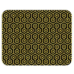 Hexagon1 Black Marble & Yellow Colored Pencil (r) Double Sided Flano Blanket (medium)
