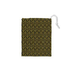 Hexagon1 Black Marble & Yellow Colored Pencil (r) Drawstring Pouches (xs)