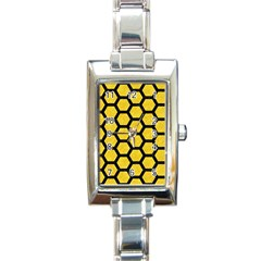 Hexagon2 Black Marble & Yellow Colored Pencil Rectangle Italian Charm Watch