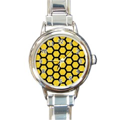 Hexagon2 Black Marble & Yellow Colored Pencil Round Italian Charm Watch