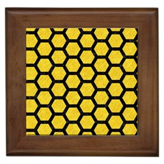 Hexagon2 Black Marble & Yellow Colored Pencil Framed Tiles