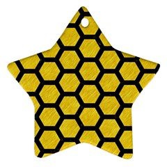 Hexagon2 Black Marble & Yellow Colored Pencil Ornament (star)