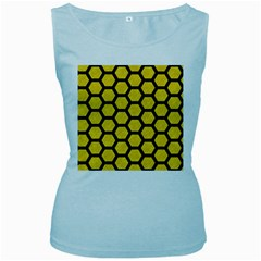 Hexagon2 Black Marble & Yellow Colored Pencil Women s Baby Blue Tank Top