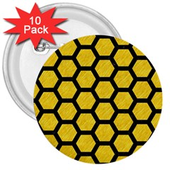 Hexagon2 Black Marble & Yellow Colored Pencil 3  Buttons (10 Pack)
