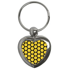 Hexagon2 Black Marble & Yellow Colored Pencil Key Chains (heart)
