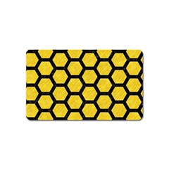 Hexagon2 Black Marble & Yellow Colored Pencil Magnet (name Card)