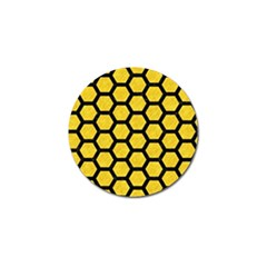 Hexagon2 Black Marble & Yellow Colored Pencil Golf Ball Marker (10 Pack)