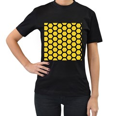 Hexagon2 Black Marble & Yellow Colored Pencil Women s T Shirt (black) (two Sided)