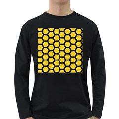 Hexagon2 Black Marble & Yellow Colored Pencil Long Sleeve Dark T Shirts