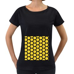 Hexagon2 Black Marble & Yellow Colored Pencil Women s Loose Fit T Shirt (black)