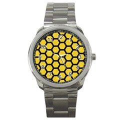 Hexagon2 Black Marble & Yellow Colored Pencil Sport Metal Watch