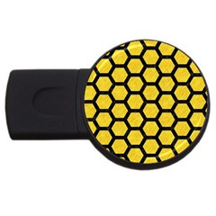 Hexagon2 Black Marble & Yellow Colored Pencil Usb Flash Drive Round (4 Gb)