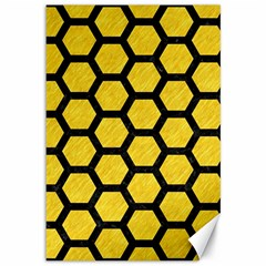 Hexagon2 Black Marble & Yellow Colored Pencil Canvas 12  X 18