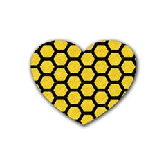 Hexagon2 Black Marble & Yellow Colored Pencil Rubber Coaster (heart)