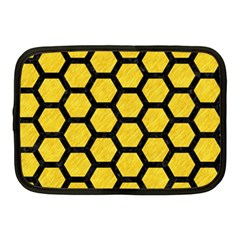 Hexagon2 Black Marble & Yellow Colored Pencil Netbook Case (medium)