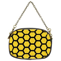 Hexagon2 Black Marble & Yellow Colored Pencil Chain Purses (one Side)