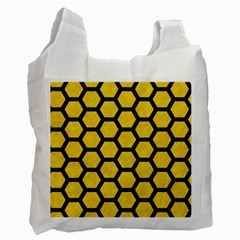 Hexagon2 Black Marble & Yellow Colored Pencil Recycle Bag (two Side)