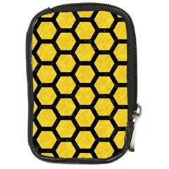 Hexagon2 Black Marble & Yellow Colored Pencil Compact Camera Cases