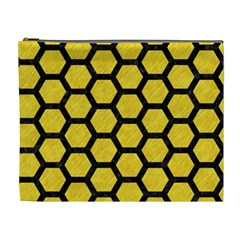 Hexagon2 Black Marble & Yellow Colored Pencil Cosmetic Bag (xl)