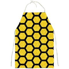 Hexagon2 Black Marble & Yellow Colored Pencil Full Print Aprons