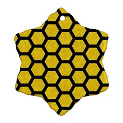 Hexagon2 Black Marble & Yellow Colored Pencil Snowflake Ornament (two Sides)
