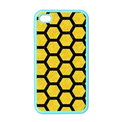 Hexagon2 Black Marble & Yellow Colored Pencil Apple Iphone 4 Case (color)
