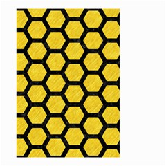 Hexagon2 Black Marble & Yellow Colored Pencil Small Garden Flag (two Sides)