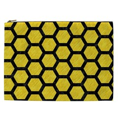 Hexagon2 Black Marble & Yellow Colored Pencil Cosmetic Bag (xxl)