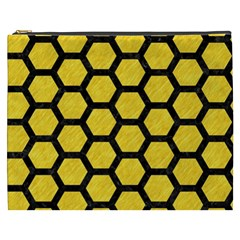 Hexagon2 Black Marble & Yellow Colored Pencil Cosmetic Bag (xxxl)