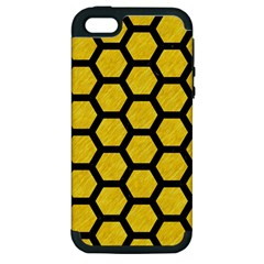 Hexagon2 Black Marble & Yellow Colored Pencil Apple Iphone 5 Hardshell Case (pc+silicone)
