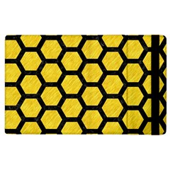 Hexagon2 Black Marble & Yellow Colored Pencil Apple Ipad 3/4 Flip Case