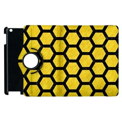 Hexagon2 Black Marble & Yellow Colored Pencil Apple Ipad 3/4 Flip 360 Case