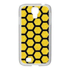 Hexagon2 Black Marble & Yellow Colored Pencil Samsung Galaxy S4 I9500/ I9505 Case (white)