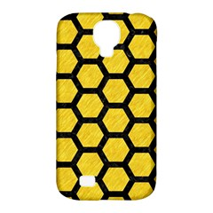 Hexagon2 Black Marble & Yellow Colored Pencil Samsung Galaxy S4 Classic Hardshell Case (pc+silicone)