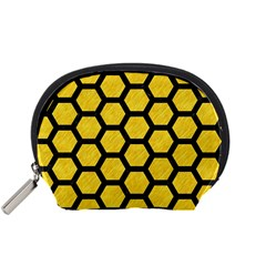 Hexagon2 Black Marble & Yellow Colored Pencil Accessory Pouches (small)