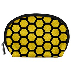 Hexagon2 Black Marble & Yellow Colored Pencil Accessory Pouches (large)