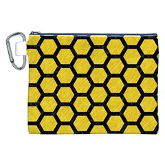 Hexagon2 Black Marble & Yellow Colored Pencil Canvas Cosmetic Bag (xxl)